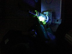 Magnetic particle testing, fluorescent under UV light